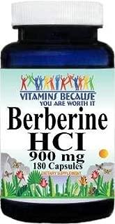 Pure and High Potency Berberine; 900mg Per Serving; 180 Capsules (2 Bottles)