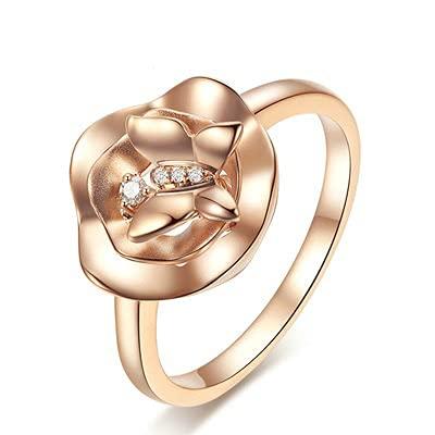 Bishilin Anillo de Oro Amarillo 750 Reales, Flor Anillo con Mariposa Diamante 0.03ct Anillo de Compromiso de Matrimonio Ajuste Cómodo Regalos para Cumpleaños Navidad Oro