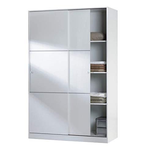 Habitdesign MAX120F - Armario 2 Puertas Correderas y Estantes, para Dormitorio o Habitacion, Medidas: 120 cm (Largo) x 200 cm (Alto) x 50 cm (Fondo)