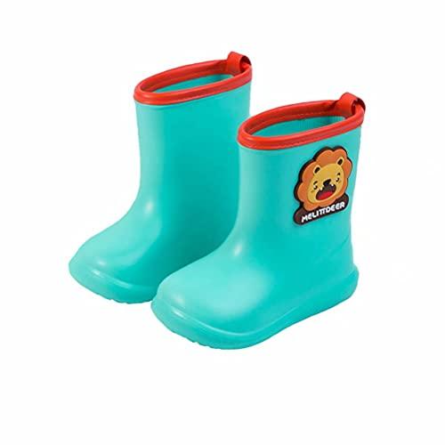 Kids Wellies Girls Boys Wellington Boots Dinosaur Children Waterproof Rubber Rain Boots Lightweight Non-Slip Cute Cartoon Shoes Outdoor Green Size 8.5/9 UK Child
