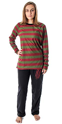 Nightmare On Elm Street Women's Freddy Krueger Costume Sweater Pattern Shirt and Pants Pajama Set (XL)