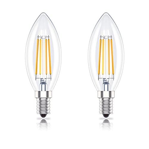 Huoqilin E14 LED Lampe,Kerzenform,Dimmbar, 4W (ersetzt 40W), Glühbirne Klar,Warmweiss 2700K, 2er-Pack