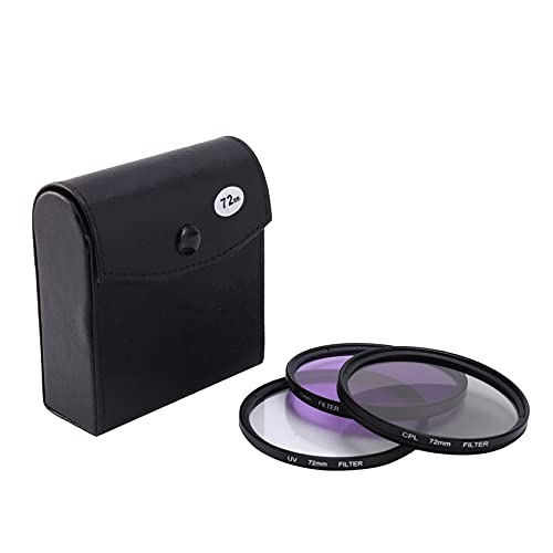 Tamkyo Nuovo Obiettivo UV 72MM + Obiettivo CPL + Obiettivo FLD Set di Filtri per Obiettivi 3 nel 1 con Sacchetto per Cannone Obiettivo Fotografico