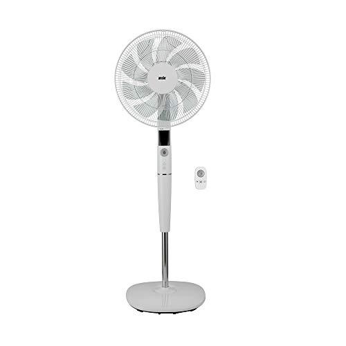ANSIO Standventilator 40CM mit Fernbedienung - Ventilator- Standlüfter- höhenverstellbarer Standfuß -9 Klingen 26 Geschwindigkeiten DC Motor - weiß