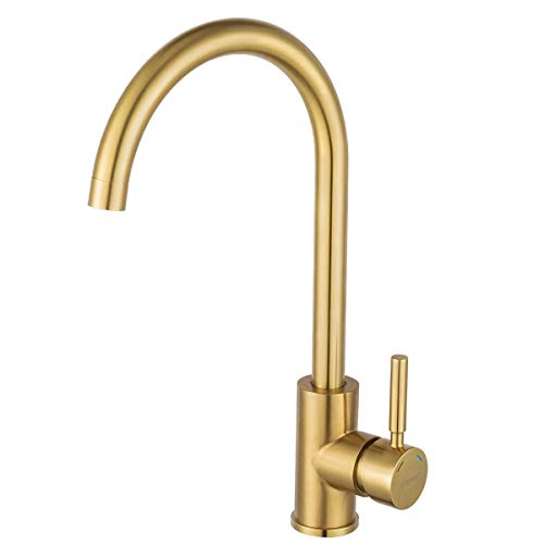 Bar Kitchen Sink Faucet Brushed Gold GAPPO Lead Free Single Handle Bathroom Faucet Prep Kitchen Faucet in Stainless