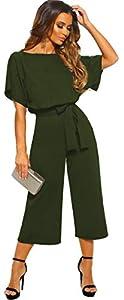 Longwu Mujeres Casual Elegante Cintura Alta Mono de Manga Corta Pantalones de Pierna Ancha Ocasionales Mamelucos Sueltos con cinturón Ejercito Verde-S
