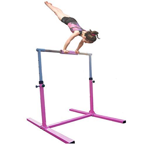 Seababyhouse 4ft barras gimnasia gimnasio Niños Junior Kip High Bar equipo para gimnasio de entrenamiento Bar Ajustable Horizontal Mejor regalo de la escuela [Kid Gymnastics Training Bar]-rosado