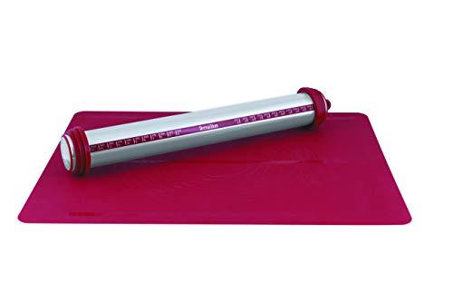 Terraillon 13867 Kit rouleau à pâtisserie premium, Acier Inoxydable, Rouge, 44,5 x 7,5 x 7 cm
