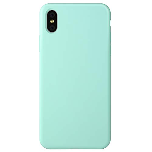 ZhinkArts Funda de silicona para teléfono móvil compatible con Apple iPhone X/iPhone XS – Pantalla de 5,8 pulgadas – Carcasa de silicona con forro interior de microfibra – Funda en verde menta