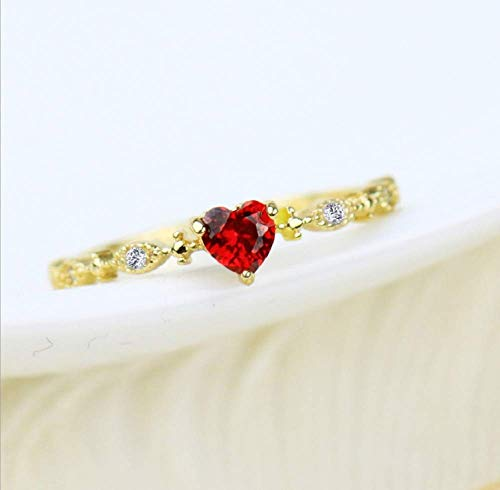 Finemall Cute Dainty Women's 14K Gold PlatedHeart-Shaped Ruby Drill Rings Delicate Rings Gemstone Rings Wedding Jewelry Heart Gemstone Promise Engagement Love Ring Size 6-10 (US 10)