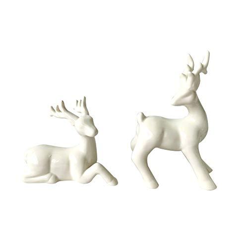 YINHEW Keramische Ornamente, Keramik Weihnachtsschmuck Dekoration Weihnachten Elch Schöne Linien Hand glasiert Familie Weihnachten Weihnachtsdekoration Schöne Figur im europäischen Stil