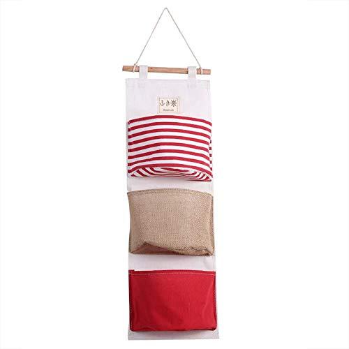 JIAHU Bolsa de almacenamiento colgante de 3 capas de lino para puerta de armario, organizador de armario, 1 unidad