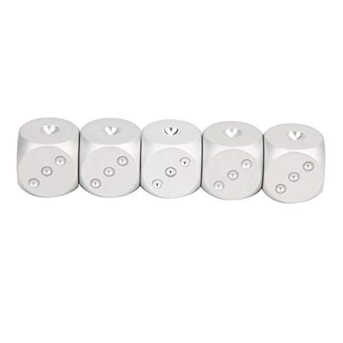 Accesorio duradero del juego de los dados de los dados del metal conveniente para KTV(5 silver dice boxed (blue box))