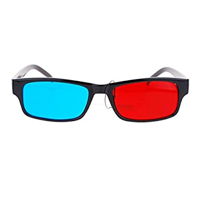 Black Anaglyphic Red Blue Cyan Stereoscopic Lens 3D Glasses (Blue Right Red Left)