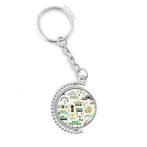 DIYthinker Men Korea Meest Beroemde Landmarks Draaibare Sleutelhanger Ring Sleutelhouder 1,2 inch x 3,5 inch Multi kleuren