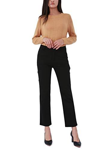 Bamans Pantaloni Eleganti Donna Contone Tuta Nero Straight Ufficio Lungo Pantaloni Elasticizzati con Tasche per Divise, Affare, Casual (Nero, Large)
