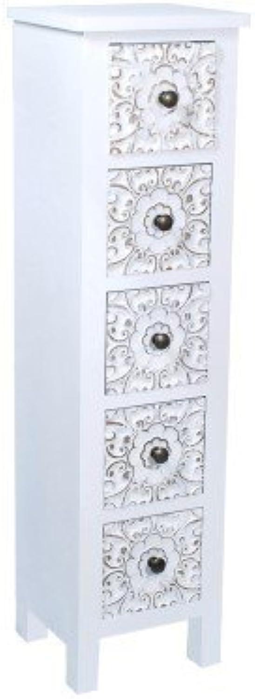 Art Deco Home - Hochkommode mit 5 Schubladen, Holz, Weiss, 102 cm - 14783SG