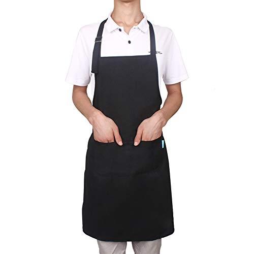 esafio Canvas Schürze Verstellbare mit 2 Taschen Kochschürze für Frauen Männer Chef, Schwarz