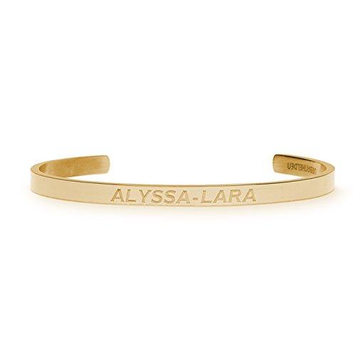 URBANHELDEN - Gravierter Armreif mit Ihrem Wunschnamen - Damen Schmuck Bangle Personalisiert - Verstellbar, Edelstahl - Armband mit Wunschgravur - V1 Gold