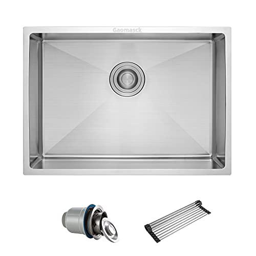 Gaomasck Kitchen Sink , 30 x 16.5 inch Undermount Kitchen Sink Single Bowl 16 Gauge Stainless Steel Sink, High-end Handmade for Kitchen Sink, Bar Sink or Outdoor Sink