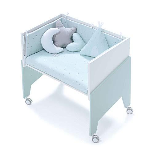 Alondra - Minicuna Colecho EQUO (5 etapas) MINT + Set 3Textiles + Colchón antiahogo, convertible en: sillón + mesa + juguetero + colecho + minicuna) 7 alturas somier, modelo C1055-TX055 Verde Menta
