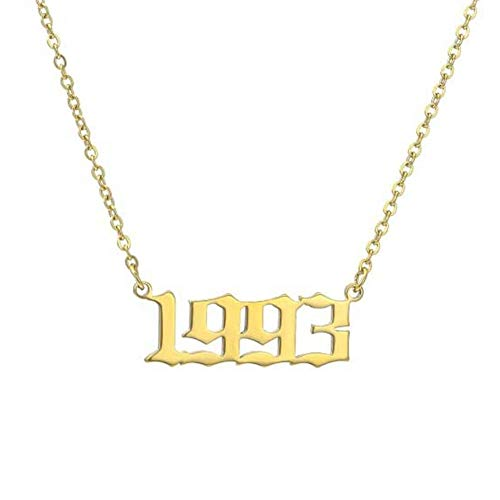 Oulensy 1pc Personalized Year Number Custom Pendants for Women Men Golden Chain Pendant Necklace (1993)