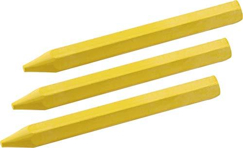 Meister Signierkreide gelb - Ø 12 x 120 mm - Praktisches Set mit 3 Stück - Für Holz, Beton, Eisen, Textilien & Co. - Wetterfest & lichtecht - In Sechskantform / Markierkreide / Forstkreide / 9447700