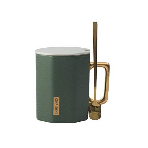 Große Kapazität Business Office Coffee Water Cup Becher Mit Überdachtem Löffel Polygon Keramik-tasse 350ml grün