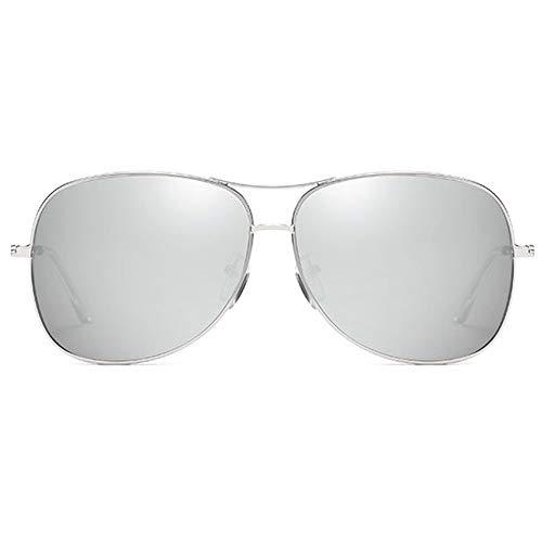 KK Zachary Gafas de sol de moda Wild New Metal Material Colorido Gafas de sol Marco Plateado/Plateado/Azul Lente Hombres y Mujeres con el mismo Gafas de sol polarizadas (Color: Plata)