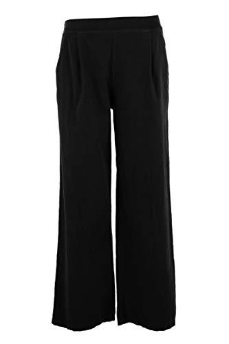 Texture - Pantalones de chándal para mujer, diseño italiano, 2 bolsillos, de lino y algodón, talla única Negro Negro ( Talla única