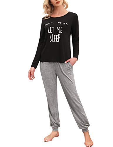Enjoyoself Damen Langer Schlafanzug Baumwolle Zweiteiler Pyjama Set Kuschelig...