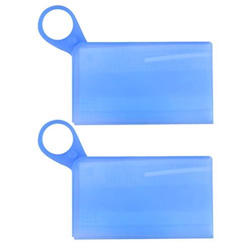 Milisten Mundgesichtsabdeckung Fall Silikon Tragbare Staubdichte wasserdichte Mundgesichtsabdeckung Aufbewahrungsbehälter Kunststoffdichtungsbox für Gesichtsschutz ID-Ausweiskarte 2St. Blau