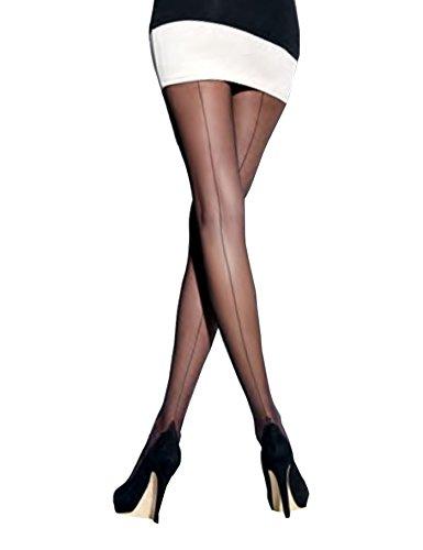 A.S.A.R. Damen Strumpfhose mit Naht am Hinterbein Pantyhose Stockings Halbmatt, Schwarz, 40/42 (4)