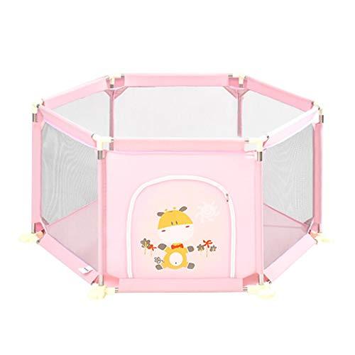 Dongyd Barrière de Protection de sécurité pour Parc de bébé, Parc à bébé à 6 Panneaux, Aire de Jeu pour Enfants, Rose (Taille : 73cm)