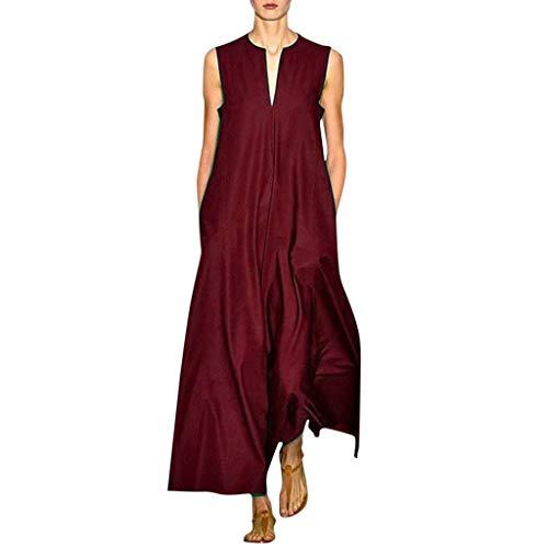 Dasongff Damesjurk, lange jurk, grote maten, voor dames, vintage, dagelijks, casual, katoenmix, bedrukt, bloemen, zomerjurk, strandjurk, tuniek, jurk, etuijurk Large wijn