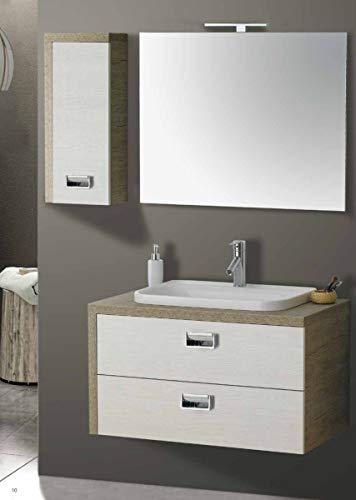 Set Mobile Lavabo Specchio LED Arredo Bagno Moderno Dallas90 CERAMICHEMIRANDA-Toronto
