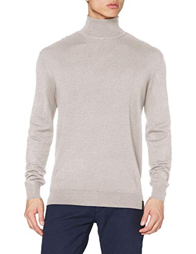 Scotch & Soda Mens Classic Turtleneck Pull Pullover Sweater, Bone Melange 0837, XL