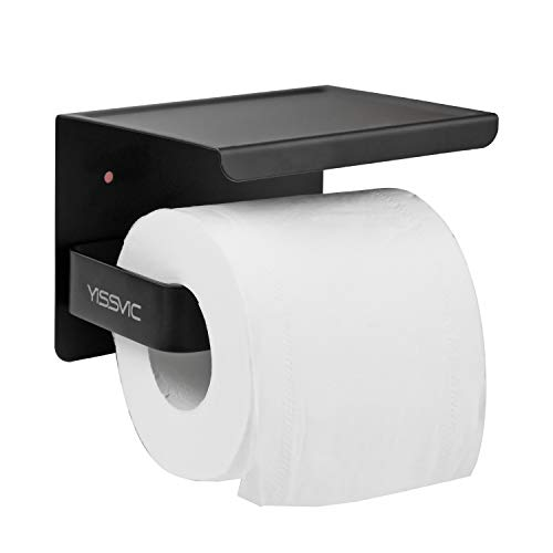 YISSVIC - Portarrollos de papel higiénico de pared 304 de acero inoxidable con tornillos o 3M adhesivo de alto brillo (negro)