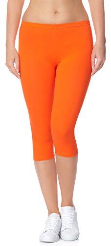 Ladeheid Damen Leggings aus Baumwolle 3/4 LAMA01 (Orange24, S/M)