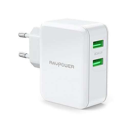 RAVPower USB Ladegerät mit Quick Charge 3.0, 2 Port 36W USB Schnellladegerät Dual QC 3.0 USB Netzteil für Galaxy S10 S9 S8 S7/S6/Edge/Plus, Note 5/4, LG G4, HTC One A9/M9, Nexus 6, iPhone, iPad usw.