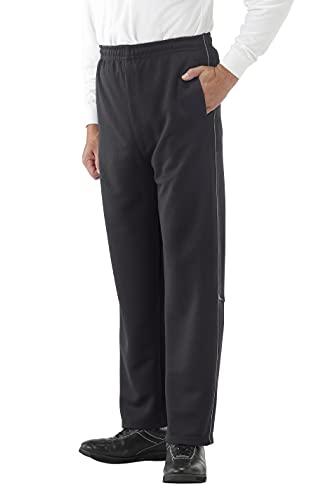 リトルアイランド ジャージパンツ (黒/L) メンズ ストレートタイプ ジャージ ズボン (前開き/反射材付き)