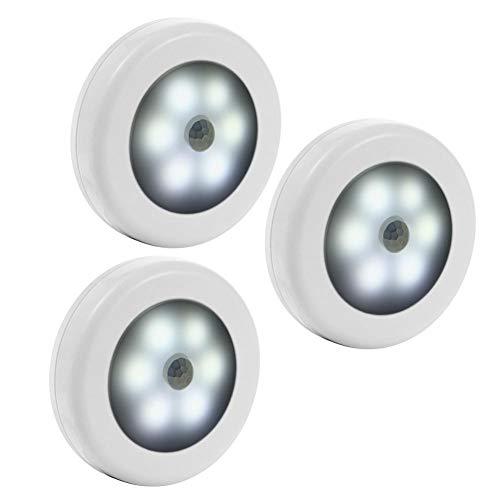 XHSHLID 3 stuks 6 LED nachtlampje voor wandlamp met bewegingsmelder en sensor voor automatische trappen