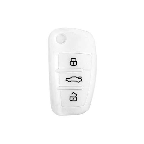 [Portachiave] Guscio Cover Chiave in Silicone per Telecomando Auto Audi 3 tasti (vedere compatibilità nelle foto) A1 A3 A4 A6 A8 TT Q5 Q7 R8 S4 S6 (BIANCO)
