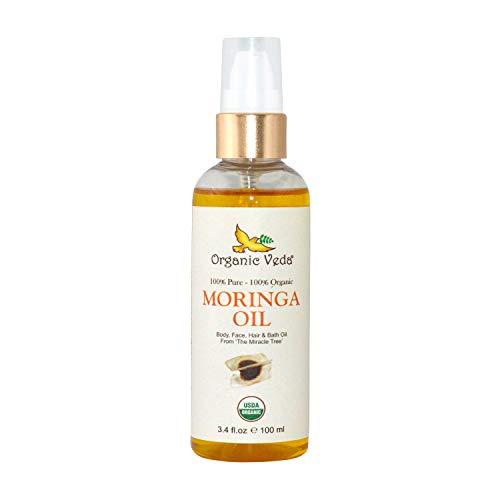 Organic Veda Moringa Oil 3.4 fl.oz | USDA Certified Organic Cold Pressed 100% Pure Premium Selected Edible Grade Extra Virgin Moringa Seed Oil | For Face, Skin, Hair, Nails, Foot and Body