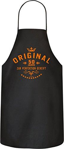 Rahmenlos Original BBQ BBQ BBQ-schort kookschort keukenschort voor de 50e verjaardag 100% katoen Gereift