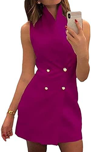 Damas De Negocios Blazer Vestidos Sin Mangas Sólido De La Camisa Visten Chaquetas De Oficina De Negocios del Botón del Juego El Cielo Azul/Violeta/Blanco/Negro S XL