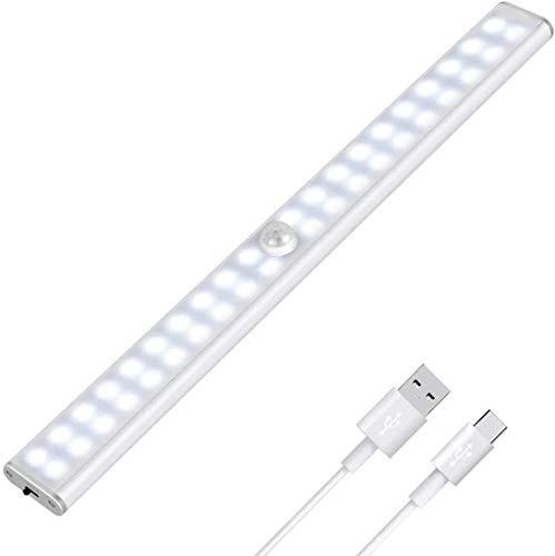Luz Armario 40 LED,USB Recargable Luces LED Armario con Sensor Movimiento,3 Modos Lámpara LED de Armario con Tira Magnética,para Armario, Cocina,Escalera, Pasillo. (Blanco)