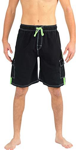 NORTY Swim - Mens Swim Suit, Black, Lime 39955-Large