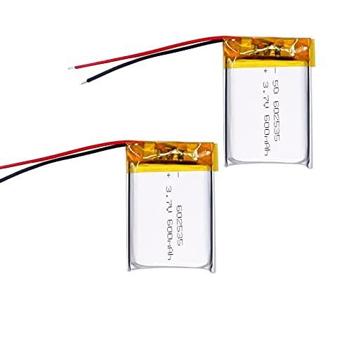 2pcs 602535 600mah 3.7v Batería Recargable De Iones De Litio De PolíMero, Adecuada para Mp3 Mp4 Dvr para AutomóVil Grabadora De Conducción Auriculares Batería De Iones De Litio