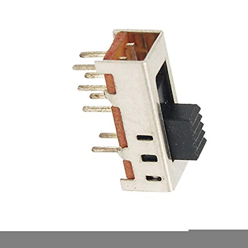 Aexit 10pcs 3mm Networking Products High Knob 8 Pin 3 Position 2P3T DP3T Vertical Slide Switch 0.5A Switches 50V DC